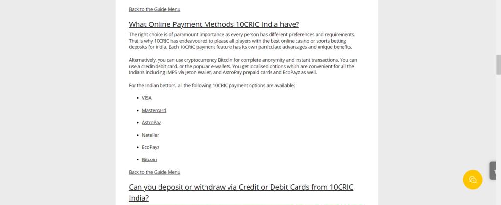 10cric Deposits