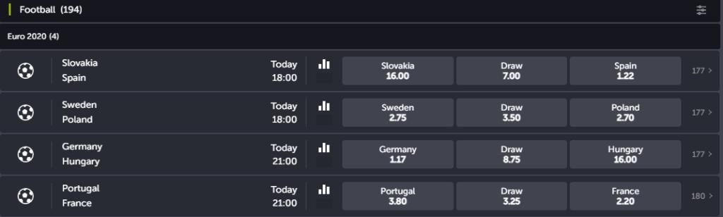 Football Betting Interface on ComeOn