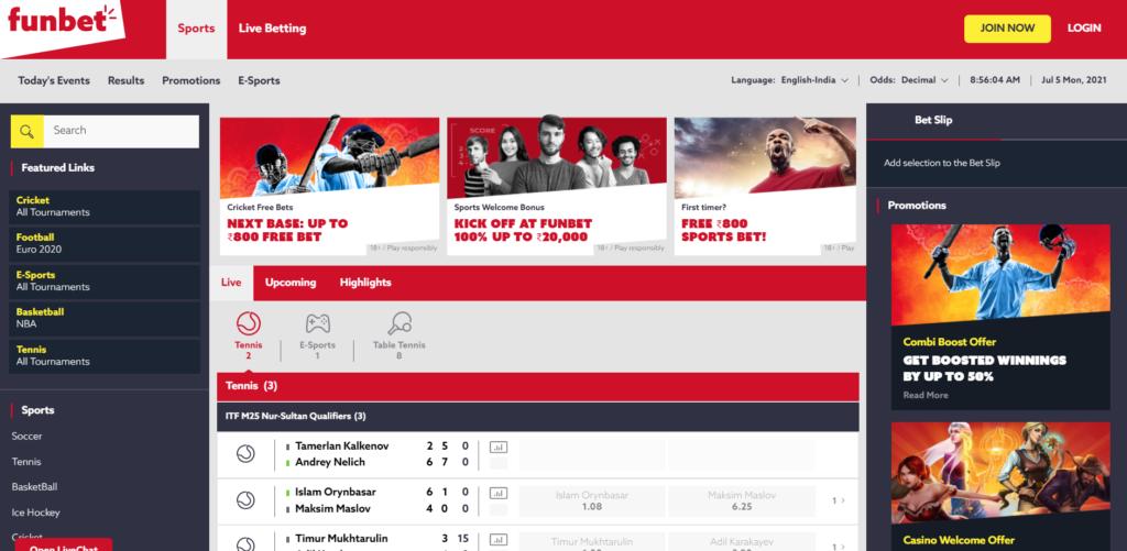 Homepage of Funbet India